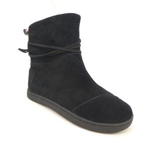 Toms Shoes - Toms Black Suede Faux Fur Lined Girls Ankle Boots